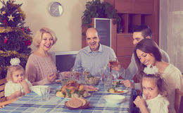 Christmas celebration in the bosom of family Stock Images