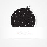 Christmas celebration card with black ball Royalty Free Stock Images