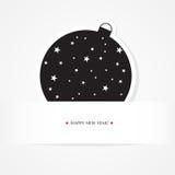 Christmas celebration card with black ball. Christmas card with black ball Royalty Free Stock Images