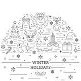 Christmas Celebration Card. Many New Year, Christmas And Winter Symbols On White Background. Line Style Royalty Free Stock Photo