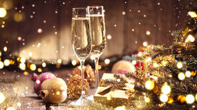 Christmas and celebration with champagne. Holiday decorated table Royalty Free Stock Photos