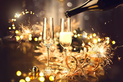 Christmas celebration with champagne. Holiday decorated table Stock Photography