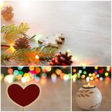Christmas celebration collage. Christmas decoration collage. Xmas and New Year holiday spirit greetings set Stock Image