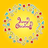 Christmas celebration cookie card. Christmas celebration cookie and candy card Stock Photo