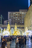 Christmas celebration. Crowd gathering for Christmas celebration at the public square near the Central World shopping mall in Bangkok, Thailand Royalty Free Stock Photos