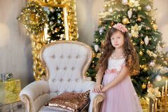 Christmas celebration. Cute little girl in a beautiful dress sitting near the Christmas tree. Christmas miracles. Luxurious Christ Stock Photos
