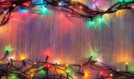 Christmas celebration garland of light bulbs royalty free stock image