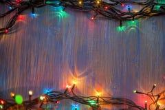 Christmas celebration garland of light bulbs royalty free stock images