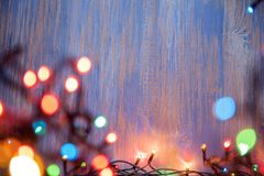 Christmas celebration garland of light bulbs Royalty Free Stock Photos