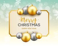 Christmas celebration greeting card background with gold and silver christmas balls. Christmas decoration.  royalty free illustration