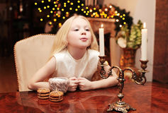 Christmas, celebration, holiday, xmas concept - cute child Royalty Free Stock Photos
