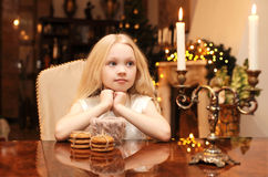 Christmas, celebration, holiday, xmas concept - cute child dream Royalty Free Stock Image