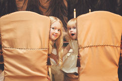 Christmas, celebration, holiday, xmas concept - cute children Stock Photos