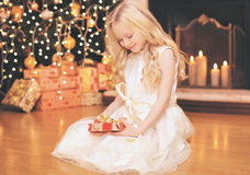 Christmas, celebration, holiday, xmas concept -happy little girl Stock Image