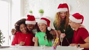 Team celebrating christmas at office party stock footage