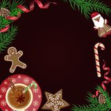 Christmas celebration with hot cocoa. Christmas celebration with gingerbread cookies. Xmas theme top view on black background. Vector illustration eps 10 Royalty Free Stock Photos