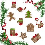 Christmas celebration with hot cocoa. Christmas celebration with gingerbread cookies. Xmas theme top view on white background. Vector illustration eps 10 Royalty Free Stock Image