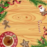 Christmas celebration with hot cocoa. Christmas celebration with gingerbread cookies. Xmas theme top view on white background. Vector illustration eps 10 Stock Photography