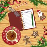 Christmas celebration with hot cocoa. Or coffee and gingerbread cookies. Xmas theme top view on wooden table background. Vector illustration eps 10 Royalty Free Stock Photo