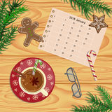 Christmas celebration with hot cocoa. Or coffee and gingerbread cookies. Xmas theme top view on wooden table background. Vector illustration eps 10 Stock Image