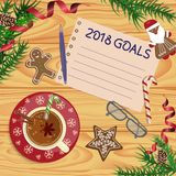 Christmas celebration with hot cocoa. Or coffee and gingerbread cookies. Xmas theme top view on wooden table background. Vector illustration eps 10 Royalty Free Stock Image