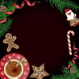 Christmas celebration with hot cocoa. Christmas celebration with gingerbread cookies. Xmas theme top view on black background. Vector illustration eps 10 Stock Image