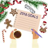 Christmas celebration with hot coffee. And gingerbread cookies. Somebody writes goals 2018. Xmas theme top view on white table background. Vector illustration Royalty Free Stock Photos