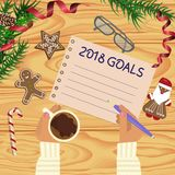 Christmas celebration with hot coffee. And gingerbread cookies. Somebody writes goals 2018. Xmas theme top view on wooden table background. Vector illustration Royalty Free Stock Photo