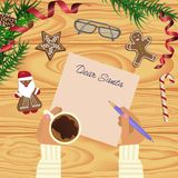 Christmas celebration with hot coffee. And gingerbread cookies. Somebody writes letter for Santa. Xmas theme top view on wooden table background. Vector Stock Photo