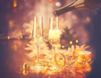 Christmas celebration. New Year holiday decorated table. Vintage toned Stock Images