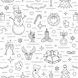 Christmas Celebration Pattern. Many New Year, Christmas And Winter Symbols  Royalty Free Stock Photo