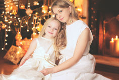 Christmas, celebration and people concept - happy family Royalty Free Stock Image