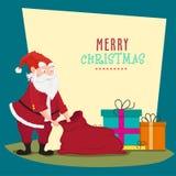 Christmas celebration with Santa Claus. Santa Claus with Gifts Sack for Merry Christmas celebration Royalty Free Stock Image