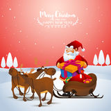 Christmas celebration with Santa Claus. Santa Claus taking gift box from reindeer sleigh on winter background for Merry Christmas celebration Royalty Free Stock Images