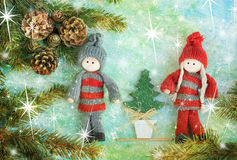 Christmas celebration on stars. Abstract christmas celebration with friends Royalty Free Stock Photography