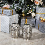 Christmas celebration things: firtree with gifts under it, decor Stock Photos