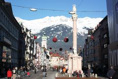 Christmas celebration at town center in Innsbruck Stock Image