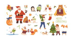 Free Christmas Celebration Vector Illustrations Set. Cute Animals With New Year Gifts Isolated Characters. Santa Claus, Girl Royalty Free Stock Images - 163102579