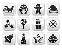 Christmas celebration, winter  buttons set Stock Images