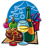 Christmas celebrations. With champagne, candle and cookies Stock Image
