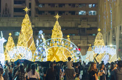 Christmas celebrations. Crowd gathering to celebrate Christmas eve on a public square near the Central World shopping mall in Bangkok, Thailand Stock Photography