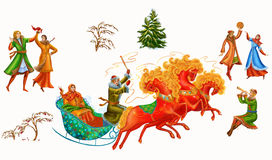 Christmas celebrations, dances, songs in winter. Cheerful holiday in winter of people. Digital painting. fantasy stock illustration