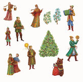 Christmas celebrations, dances, songs in winter. Cheerful holiday in winter of people. Digital painting. fantasy Stock Photography