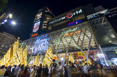Christmas celebrations. People celebrating Christmas eve at the public square near the Central World shopping mall in Bnagkok, Thailand Royalty Free Stock Photos