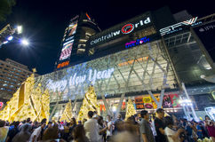 Christmas celebrations. People gathering for Christmas celebrations at the Central World shopping mall in Bangkok Thailand Stock Images