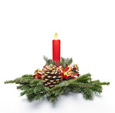 Christmas centerpiece and candlelight Stock Photography