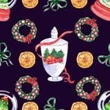Christmas centrepiece element seamless pattern vector illustration