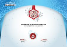 Christmas certificate. Blue border and snowflake emblem, Silver portrait of Santa on the red wafer. Bright Xmas frozen background.  royalty free illustration