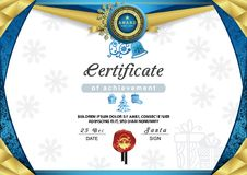 Christmas certificate. Blue gold border and snowflake emblem. Gold portrait of Santa on the red wafer. Bright Xmas background. Vector template Stock Images