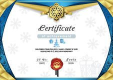 Christmas certificate. Blue gold border and snowflake emblem. Gold portrait of Santa on the red wafer. Bright Xmas background. Vector template Stock Image
